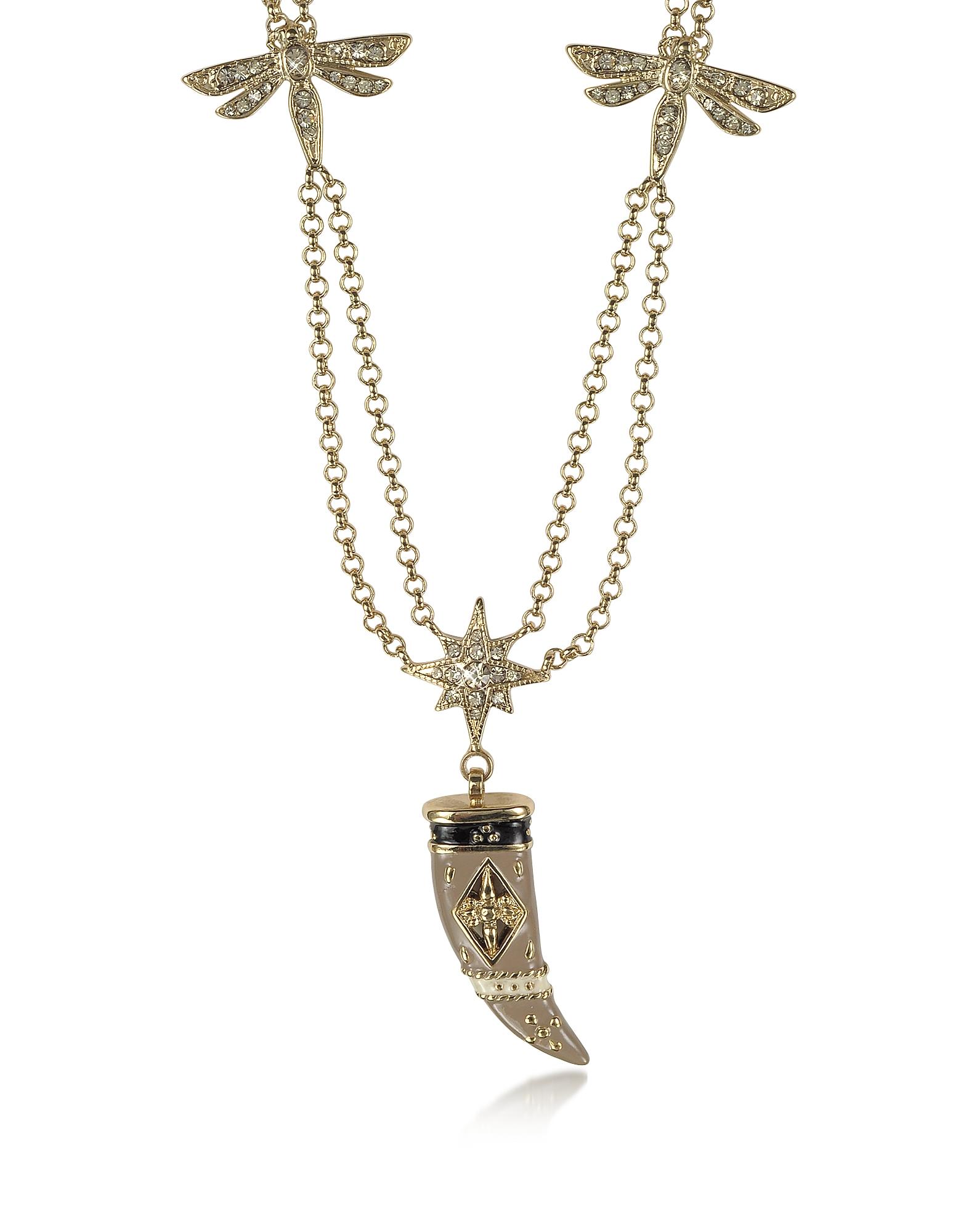 Фото Длинное Ожерелье с Двойной Цепочкой из Золотистого Металла с Рожком из Эмали и Кристаллов. Купить с доставкой
