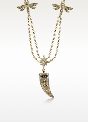 Gold-tone Double Chain Long Necklace w/Enamel and Crystals Horn - Roberto Cavalli