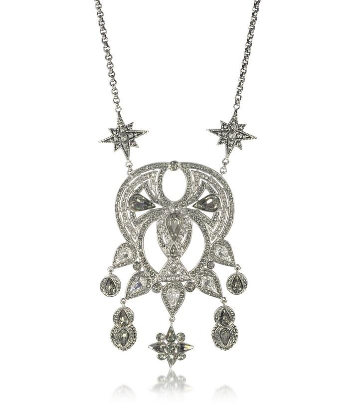 Silvertone Brass Long Necklace w/Crystals - Roberto Cavalli