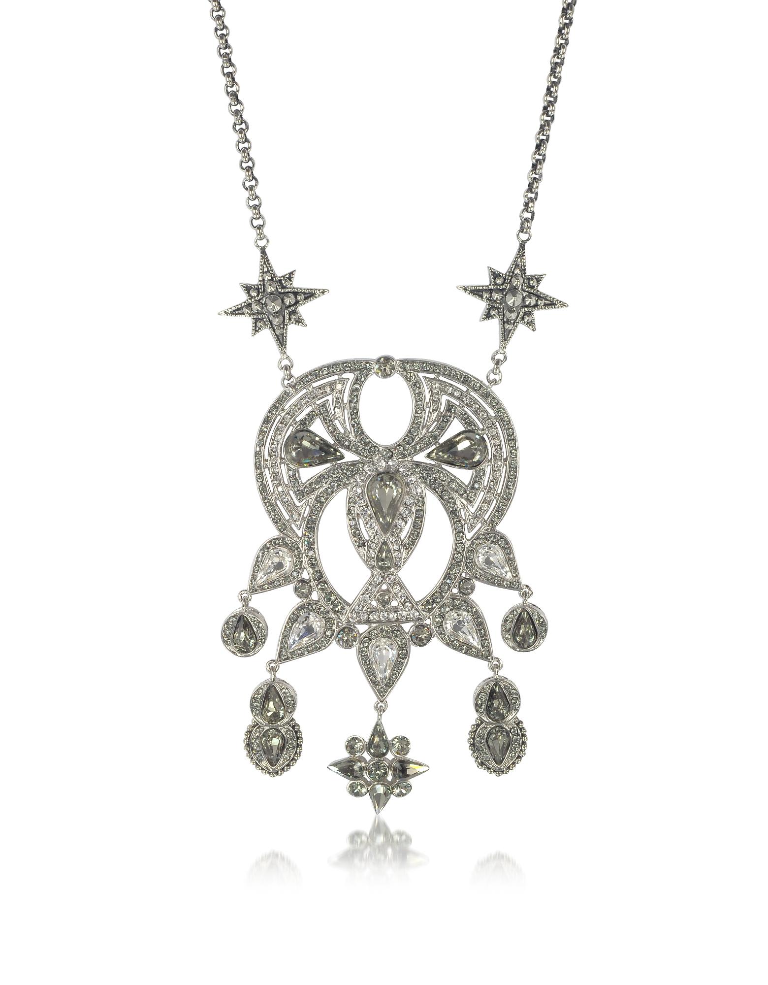 Фото Длинное Серебристое Ожерелье из Меди с Кристаллами. Купить с доставкой