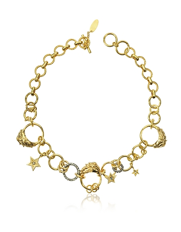 Roberto Cavalli - Circus Golden Metal Necklace w/Crystals