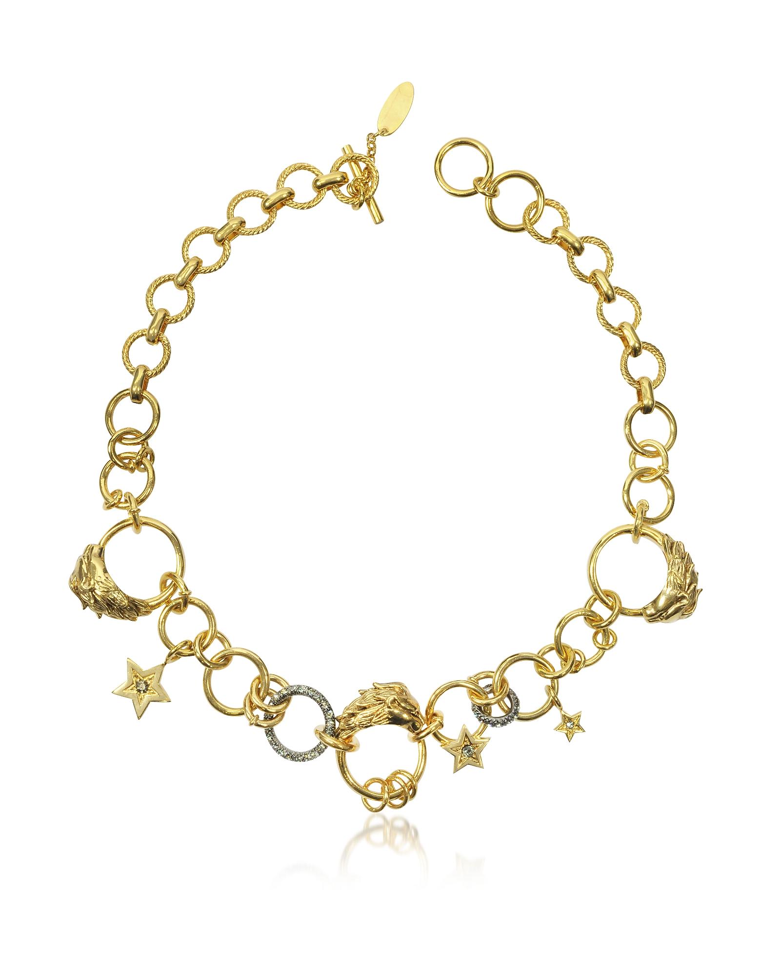 Roberto Cavalli Circus - Золотистое Металлическое Ожерелье с Кристаллами