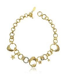 Circus Golden Metal Necklace w/Crystals - Roberto Cavalli