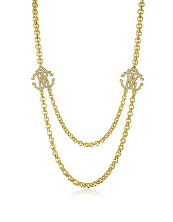 RC Icon Golden Metal Pendant Necklace w/Crystals