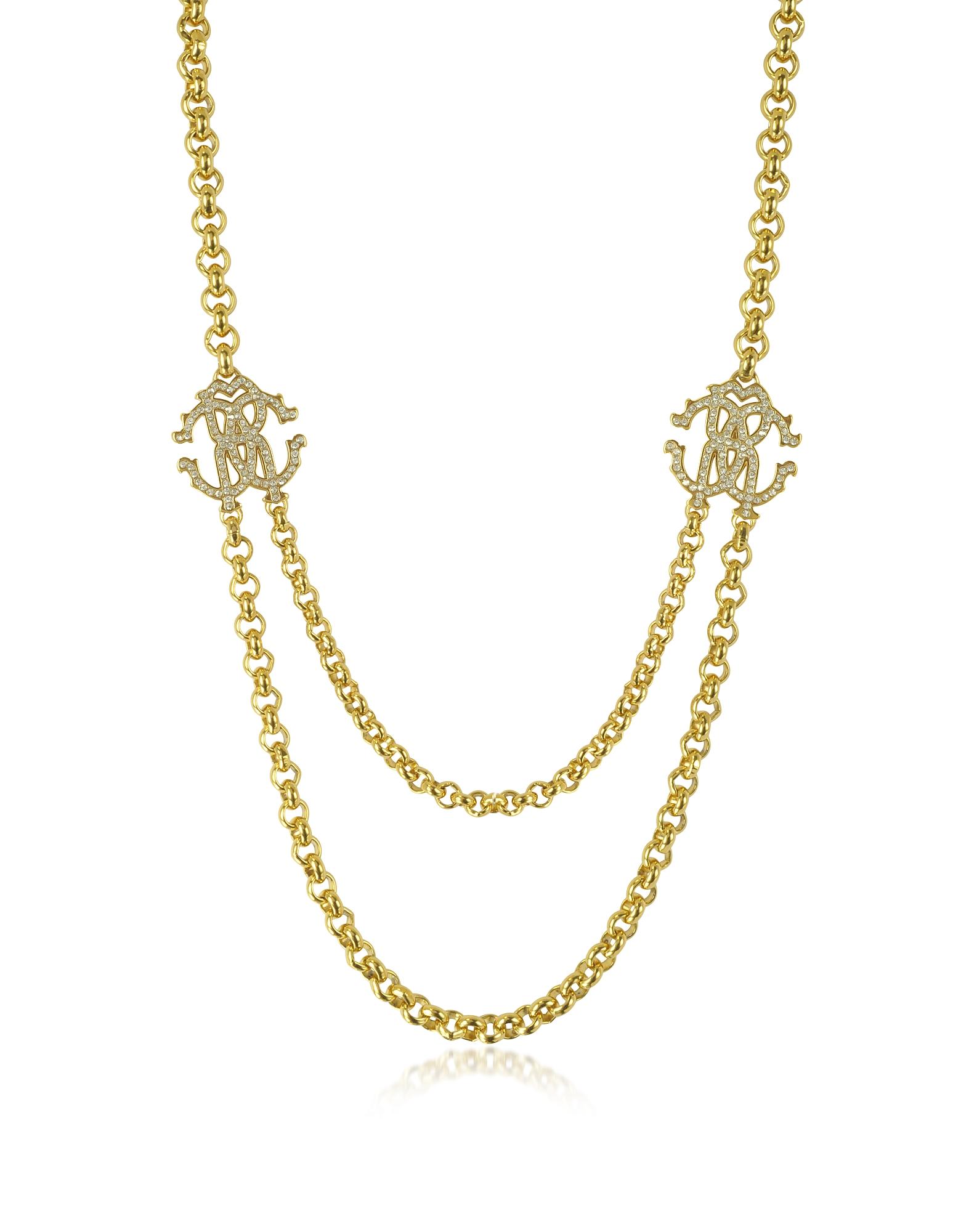 RC Icon - Золотистое Металлическое Ожерелье с Кулоном и Кристаллами