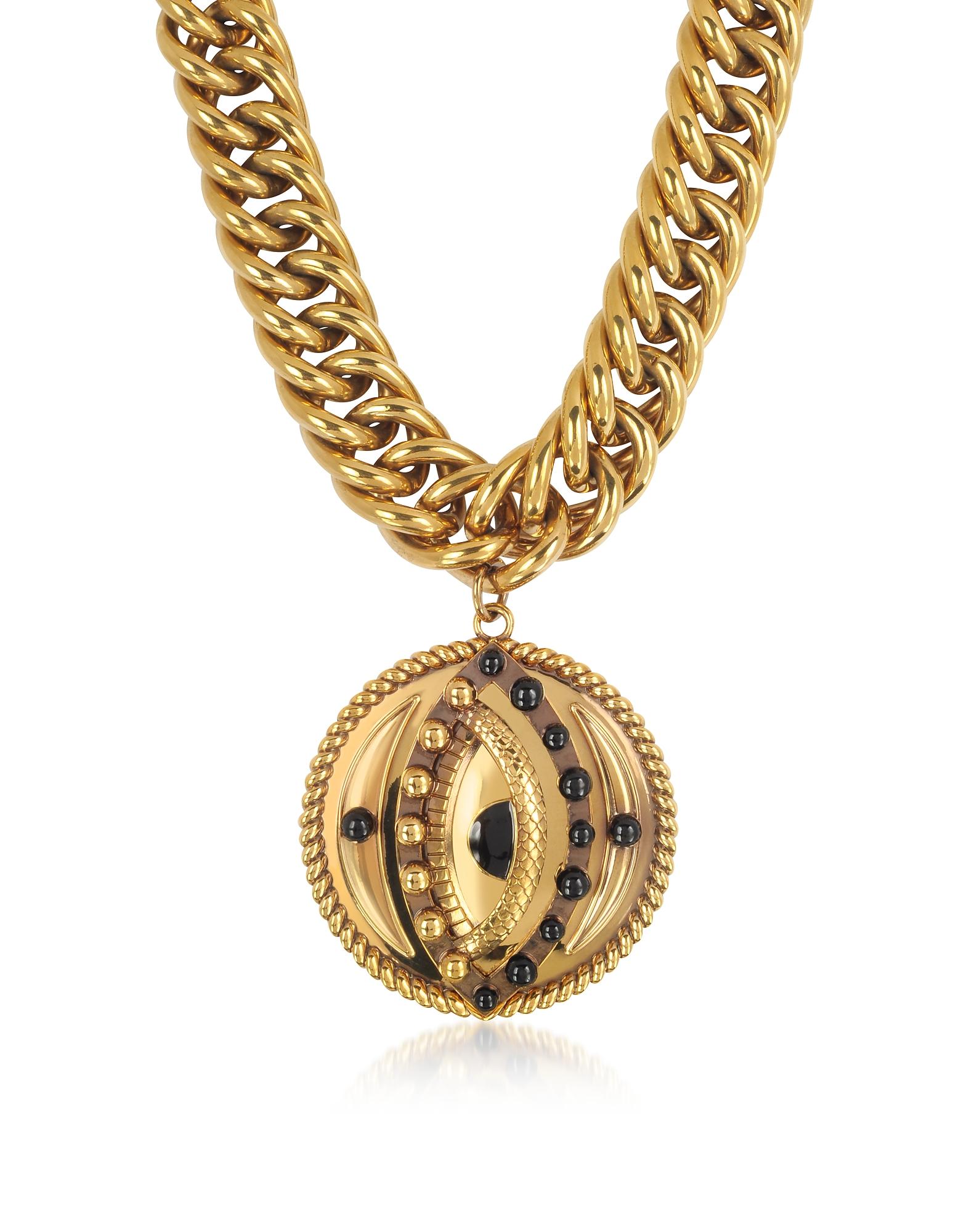 Roberto Cavalli Necklaces, Antique Goldtone Metal Choker w/Lucky Eye Coin Pendant