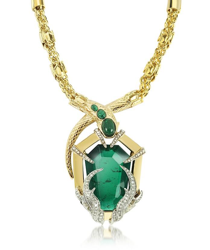 Serpent Golden Necklace w/Stone - Roberto Cavalli