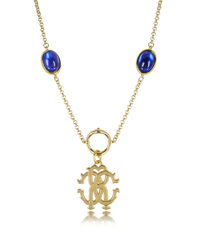 RC Line Gold Tone Pendant Necklace w/Deep Blue Stones - Roberto Cavalli