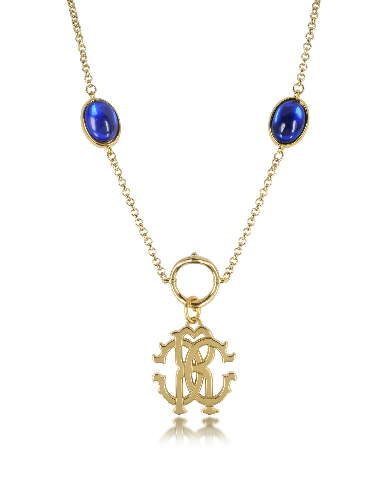 RC Line - Золотистое Ожерелье с Подвеской и Темно-синими Камнями