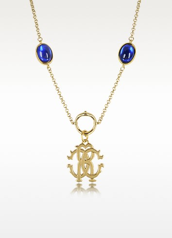 RC Line Gold Tone Pendant Necklace w/Deep Blue Stones - Roberto Cavalli