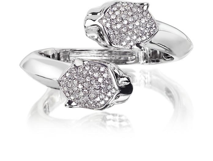 Panther Silver Metal Bracelet w/Crystals - Roberto Cavalli