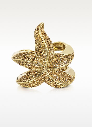 Sea Life Golden Brass w/Crystal Star Fish Bangle - Roberto Cavalli