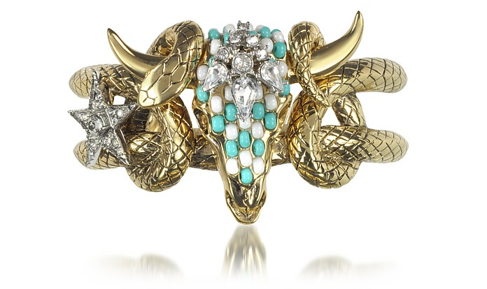 Goldtone Brass Bangle w/Crystals and Beads - Roberto Cavalli
