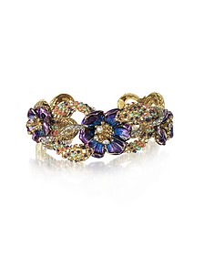Goldtone Brass Bangle w/Crystals and Flower - Roberto Cavalli
