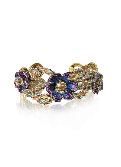 Goldtone Brass Bangle w/Crystals and Flower - Roberto Cavalli