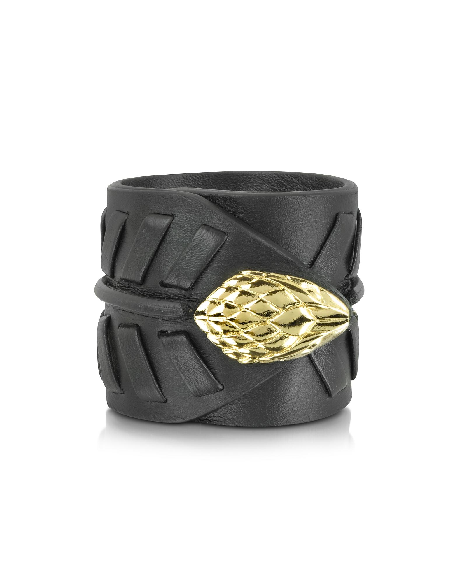 Serpent - Черный Кожаный Браслет с Золотистой Металлической Деталью