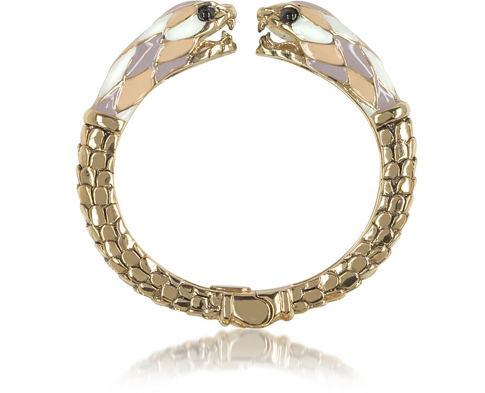 Gold Tone Metal and Multicolor Enamel Double Snake Bangle Bracelet - Roberto Cavalli