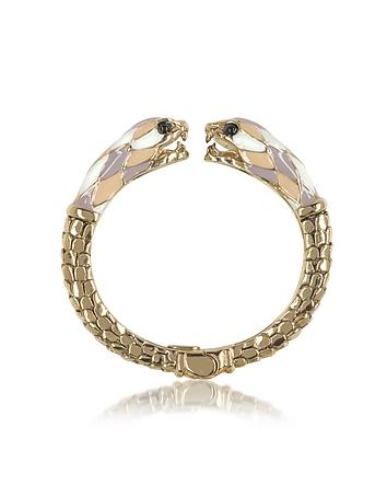 Gold Tone Metal and Multicolor Enamel Double Snake Bangle Bracelet