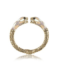 Double Snake Bangle Armband aus goldfarbenem Metall und bunter Emaille - Roberto Cavalli