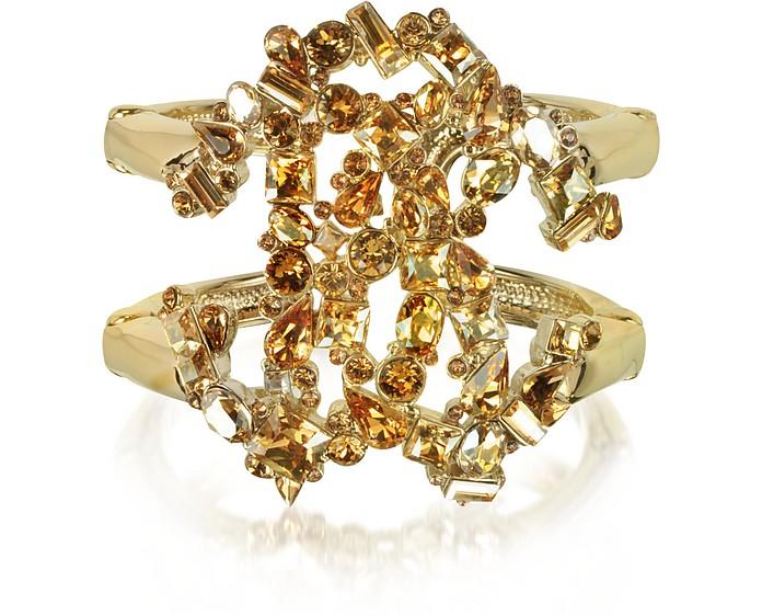 Signature Golden Bangle w/Crystals - Roberto Cavalli