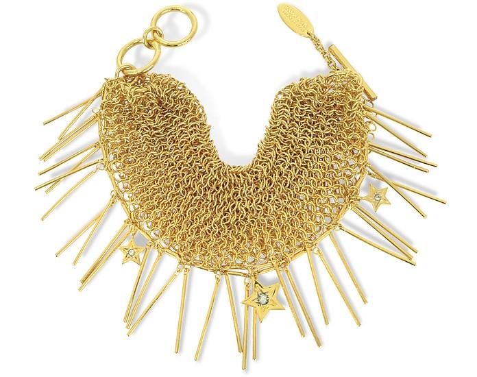 Lux Golden Metal Mesh Bracelet w/Crystals - Roberto Cavalli