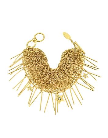 Roberto Cavalli - Lux Golden Metal Mesh Bracelet w/Crystals
