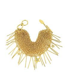 Lux Golden Metal Mesh Bracelet w/Crystals