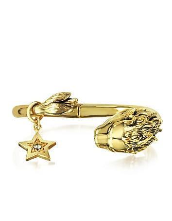 Roberto Cavalli - Circus Golden Brass Bangle w/Lion & Star