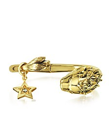 Circus Golden Brass Bangle w/Lion & Star - Roberto Cavalli