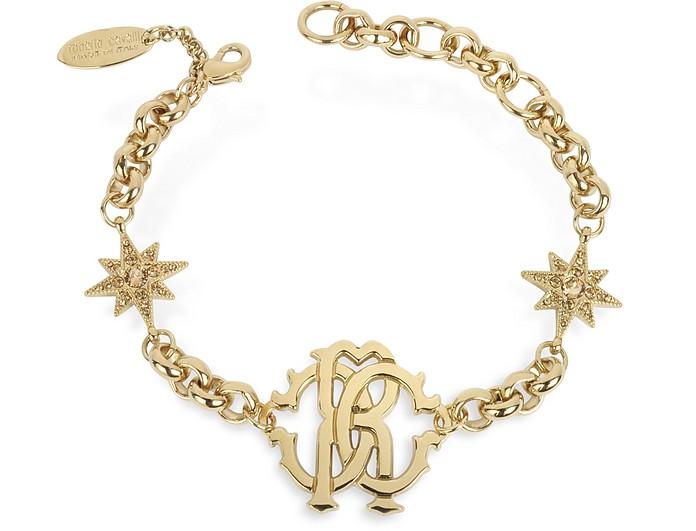 RC Icon Golden Metal Bracelet w/Stars - Roberto Cavalli