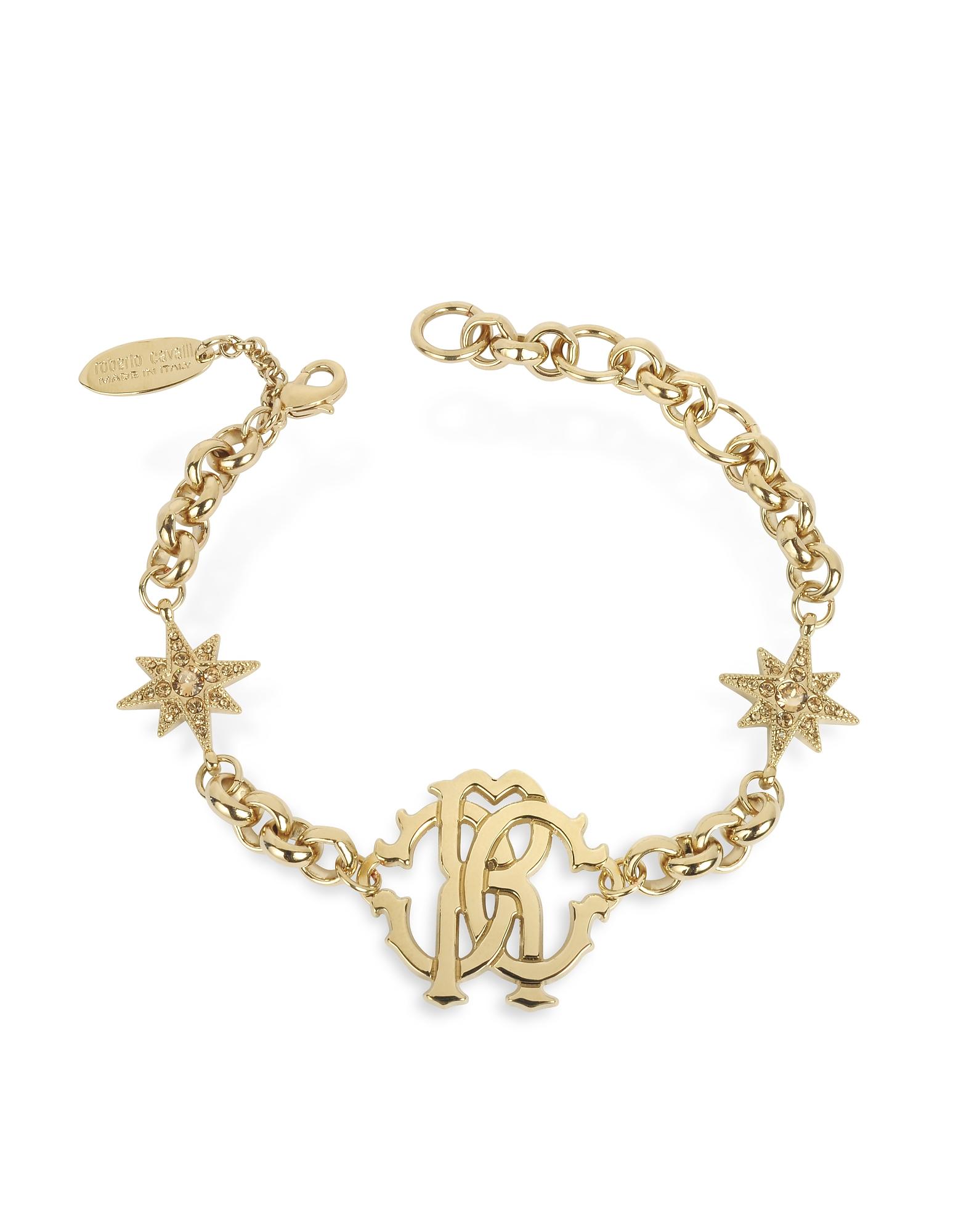 Roberto Cavalli Bracelets, RC Icon Golden Metal Bracelet w/Stars