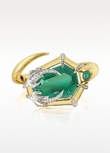 Serpent Golden Metal Bracelet w/Stone - Roberto Cavalli