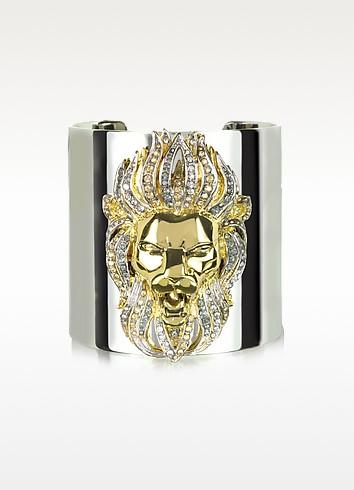 Lion Metal and Crystals Cuff - Roberto Cavalli