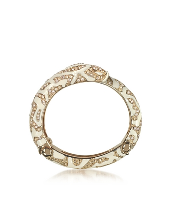 Golden Brass and Ivory Enamel Snake Bangle w/Crystals