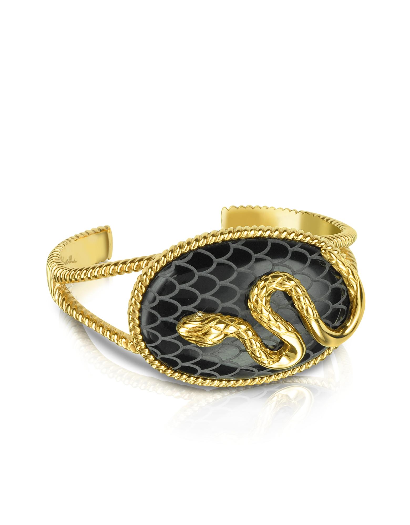 Just Cavalli Bracelets, Amazonia Gold Plated Bangle Bracelet