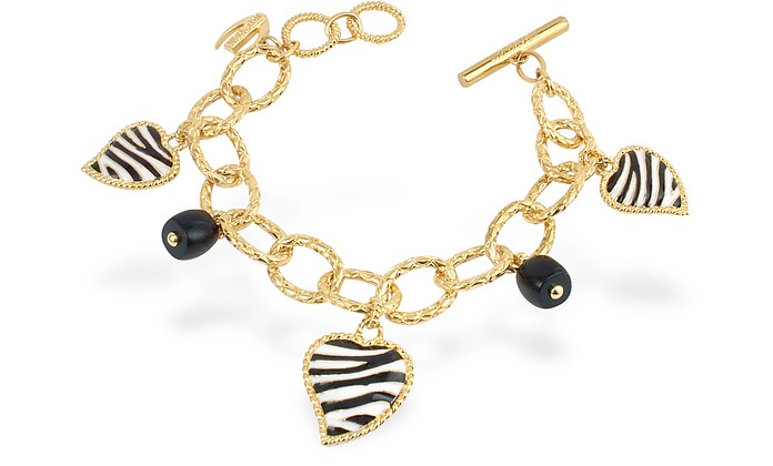 Just Zebra - Onyx and Enamel Heart Charms Toggle Bracelet - Just Cavalli