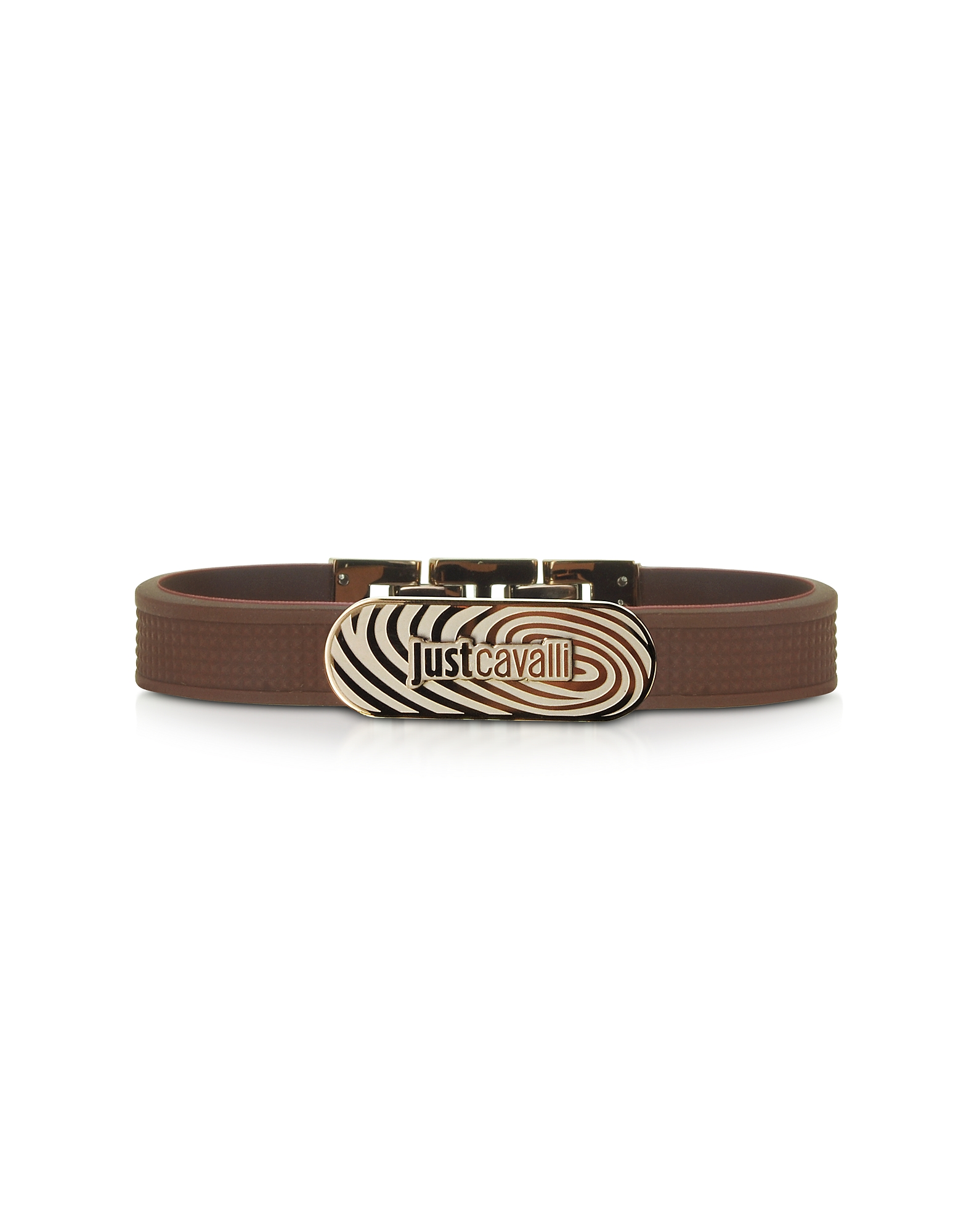 Just Cavalli Men's Bracelets, Touch Brown Silicon Men's Bracelet