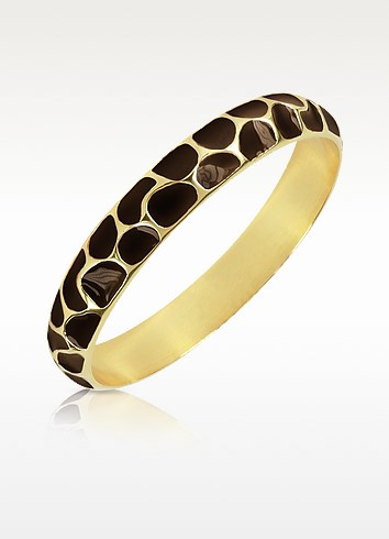 Brown Giraffe Patterned Gold-Plated Bangle Bracelet - Just Cavalli