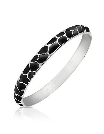 Just Cavalli - Black Giraffe Patterned Stainless Steel Bangle Bracelet