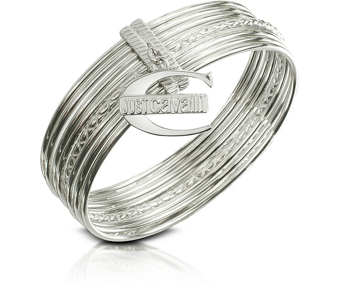 Infinity - Logo Charm Stacked Bangle Bracelet - Just Cavalli