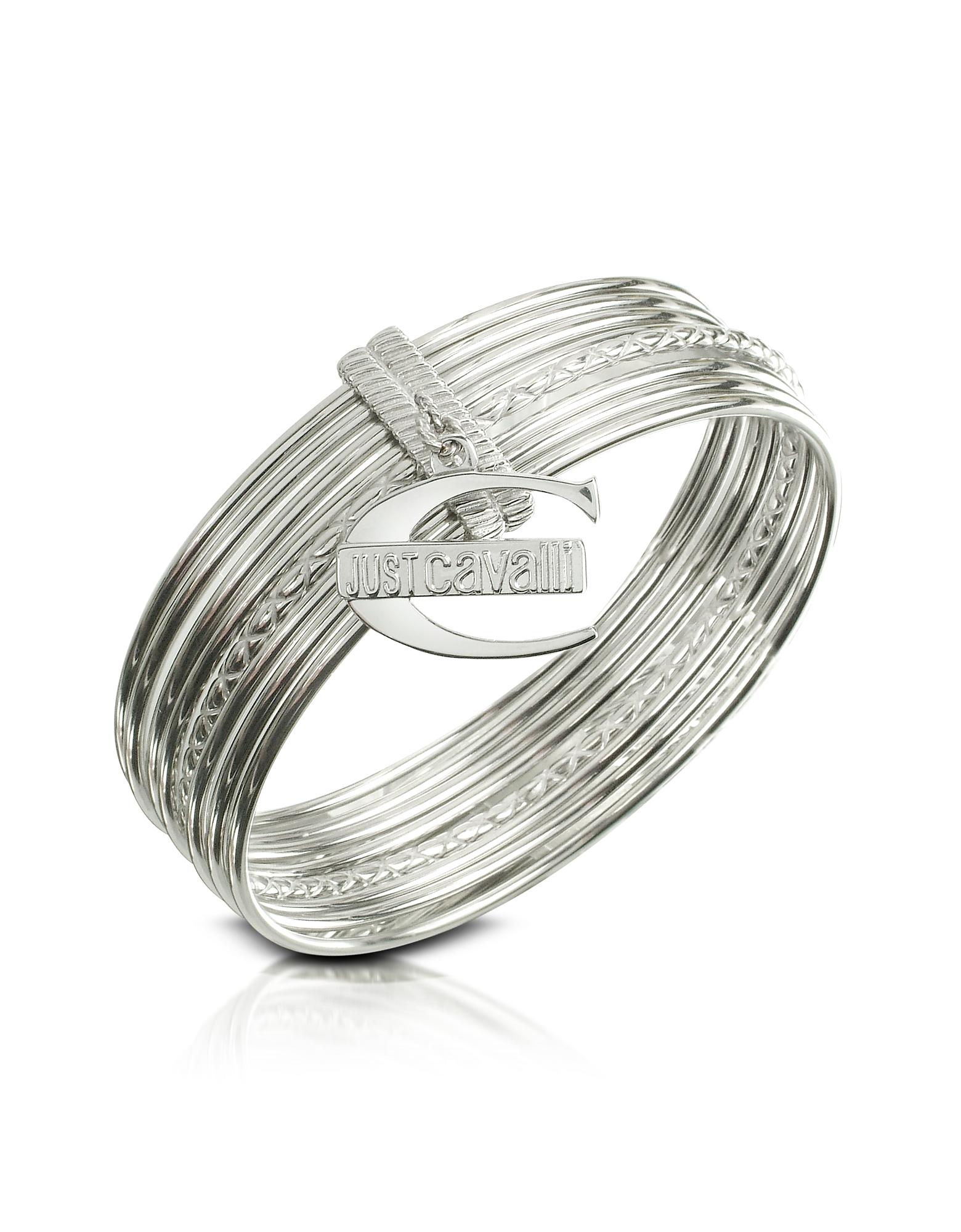 Just Cavalli Bracelets, Infinity - Logo Charm Stacked Bangle Bracelet