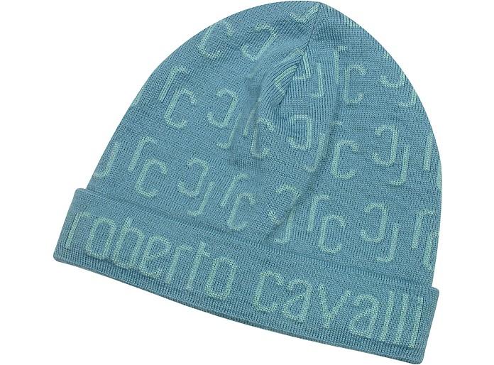 All Over Logo Brim Knit Wool Skull Cap - Roberto Cavalli
