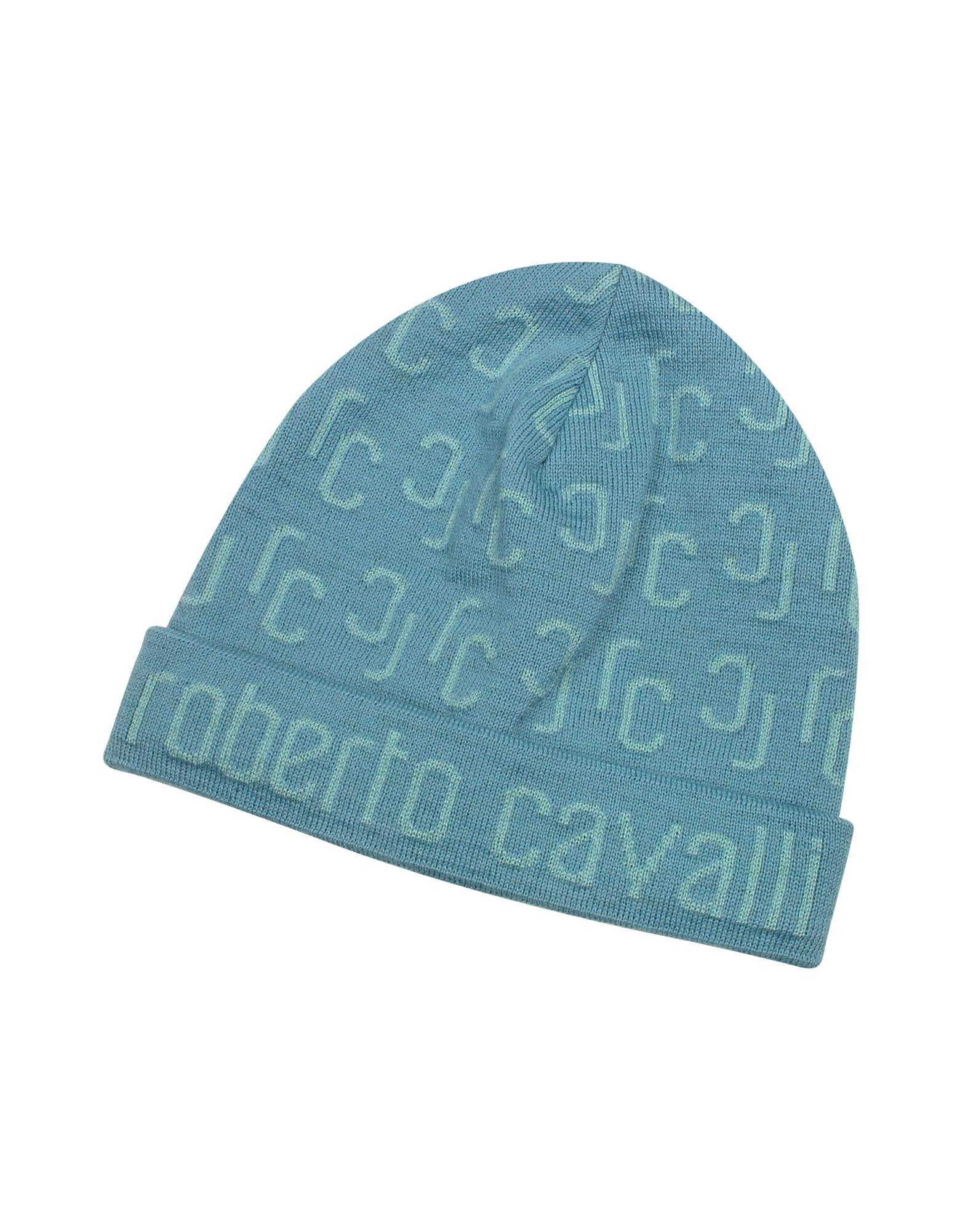 Roberto Cavalli All Over Logo Brim Knit Wool Skull Cap