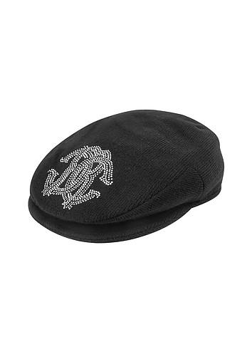 Roberto Cavalli Swarovski Crystal Logo Black Knit Newsboy Cap