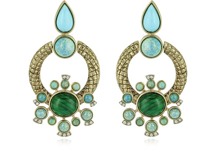 Bohemian Gold and Turquoise Clip-on Earrings - Roberto Cavalli