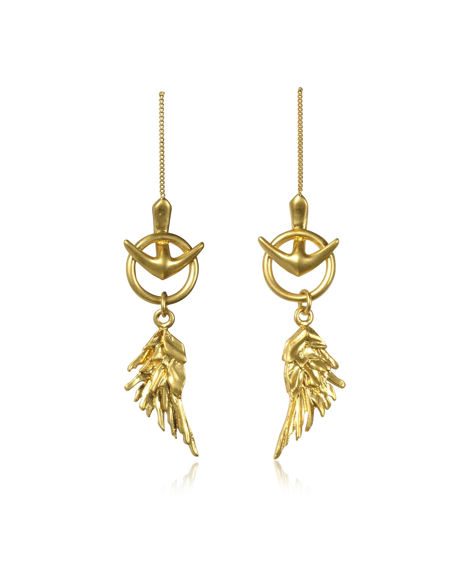 Roberto Cavalli Wing - Серьги Оттенка Античного Золота