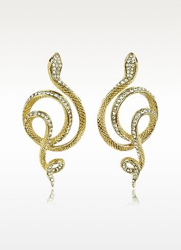 Serpent Metal Earrings w/Crystals - Roberto Cavalli