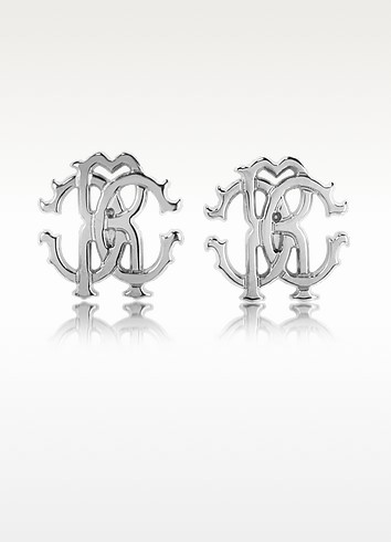 RC Icon Metal Stud Earrings - Roberto Cavalli