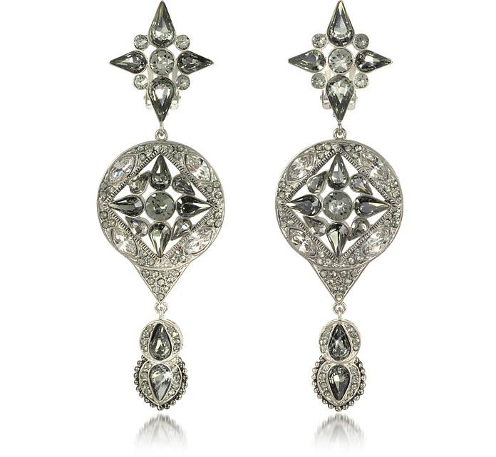 Two Tone Crystal Drop Earrings - Roberto Cavalli