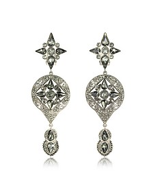 Two Tone Crystal Drop Earrings - Roberto Cavalli